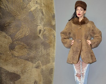 Vintage Julian Spanish Shearling Lamb Fur Thick Cozy Anorak Parka GRIZZLY ICE BEAR Printed Velours Suede Leather Camel Winter Cocoon Jacket