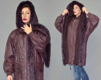 Vintage Jasmin Jonquet Real Lamb Leather Dyed Fox Fur Wool Lapel Cowl Hooded Duffle Coat Parka Oversize Draped Cocoon Anorak Sling Jacket XL