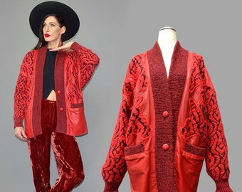 Vintage TORRAS Spain Fuzzy Mohair Wool Smooth Leather Inlaid Patchwork Embroidery Devil's Folklore Gypsy Jacket Cardigan Knit Coat Sweater S