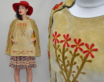 Vintage Flower Power Floral Embroirdered Ethnic Poncho Native Navajo Hippie Bohemian 1970s 70s Suede Leather Tent Cape Jacket Draped Wrap