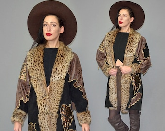 Vintage Leather & Fur Couture Art Larp Scalloped Medieval Magician Cloak Cocoon Cape Cowl Tiered Brocade Embroidered Jacket Coat Patchwork M