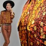 Vintage ESCADA Margaretha Ley Designer Silk Boyfriend Shirt Blouse Studded Iridescent Lurex Metallic Leopard Scarf Business Tunic 80s S 36
