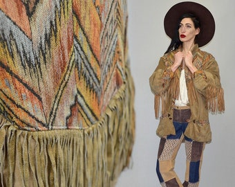Vintage MAGUNA Southwestern Tribal Chevron Navajo Ethnic Hippie Native Tassel Fringe Cowboy Western Jacket Coat Leather Blazer Tapestry 70s