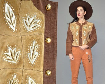 Vintage Patti Pen Lamé Like Golden Metallic Patina Leather Cropped Studded Beaded Trophy Biker Jacket Leaf Laser Cut Patchwork Embroidery L