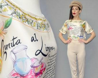 Vintage Satin Cotton Italian Designer Recipe Capri Holiday Airy Shirt Blouse Tunic T-Shirt Oversize Summer Gypsy Ibiza Holiday 90s Dainty -L