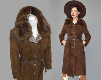 Vintage Shaggy Shearling Goat Fur Velours Suede Leather Hippie Spy Princess Trench Belted Wrap Princess Pea Coat Boho Hippy 70s Parka Cape S