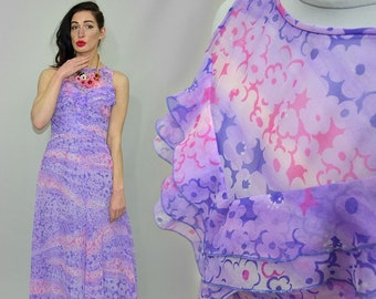 Vintage Pinafore Rushed Frill Bib Flower Power Sheer Tent Flared Maxi Dress Pastel Ombre Graphic Floral Empire Goddess Gown Bridesmaid S/M