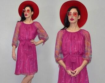 Vintage Vera Mont Designer Day Tea Dress Empire Waist Wiggle Sash Bow Puffy Hippie Goddess Bohemian Boho Midi Festival Tunic Sheer Chiffon L