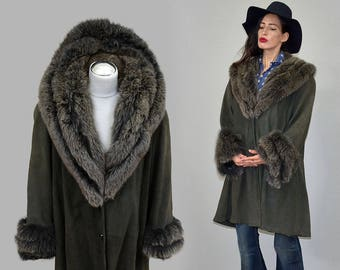 Vintage Arctic Fox Fur Embellished Draped Tent Trapeze Swing Flared Hippy Coat Bell Sleeve Jacket Kimono Leather Cowl 1970s Parka A-line XL