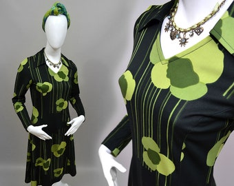 Vintage Vinetta Panton Op Art Floral Graphic Slinky Jersey Knit Tea Dress Dainty Dagger Collar Scooter Flared Shift Robe 70s Hippy Boho M 40