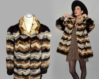 Vintage Op Art Chevron Patchwork Embroidered Mending Mink Fur Couture Multicolor Jacket Princess Tent Draped Coat Swing Flared 80s Oversize