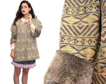 e41292fc28afbe Vintage IKAT Southwestern Aztec Native Navajo Rabbit Fur Embellished Frock  Coat Tribal Ethnic Folklore Native Boho Blazer Jacket Cape 70s