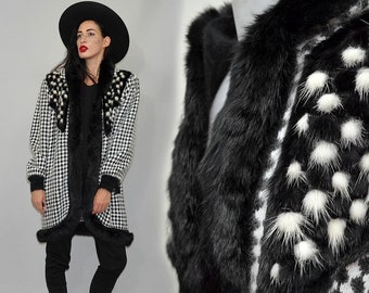 55c950e5549c24 Vintage Modissima Cocoon Cardigan Angora Wool Checkered Slouchy Hood  Knitted Coat Real Rabbit Fur Embellished Leather Patchwork Cowl Blanket