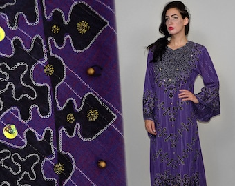 Vintage Handkerchief Pearl Embellished Beaded Indian Cotton Linen Gauze Tribal Ornament Oriental Kaftan Maxi Goddess Dress Gown Robe Ethnic