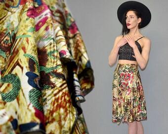 Vintage Alberto MAKALI Italian Designer Silk Flounce Ruffle Tiered A-Line Abstract Scarf Waterfall Draped Skirt Fairy Romantic Boho Goa 90s