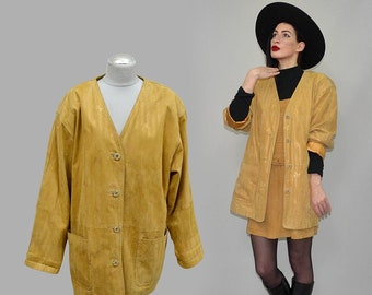 Vintage Lady Motion Gold Dust Powered Metallic Floral Real Leather Jacket Blazer Frock Coat Shrug Geometric Sculptural Lines Suede Duster L