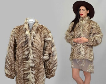 Vintage Sculptural Constructed Puffy Batwing Draped Real Arctic Fox Fur Patchwork Embroidered Bomber Winter Princess Jacket Cape Coat 80s M