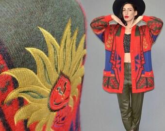 Vintage RÖSSLER Fuzzy Kid Mohair Shaggy Woolen Sweater Chunky Oversize Long Cardigan Cocoon Anorak Norwegian Tribal Embroidered Madala Goa L