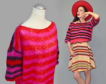 Vintage Real Shaggy Fringe Long-Haired Mohair Wool Oversize Loose Ladder Sweater Graphic Stripe Neon Slouch Jumper Pullover Hand-Made Unicum