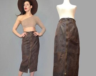 Vintage Smooth Lamb Nappa Leather Antique Patina Ombre Bombshell Pencil Business Skirt Chunky Zipper Convertible Slit Midi 80s Monroe Rocker