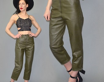 Vintage Recto Verso Leather Cigarette Pants High Waist Carrot Trousers Jeans Five-Pocket Studded Jodhpur Mom Military Army Green 1980s 80s M