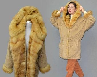 Vintage KEMPER Belseta Microfiber WEASEL Fur Lined Hood Parka Cowl Collar Anorak Oversize Cocoon Wadded Draped Jacket Winter Coat 80s M 40