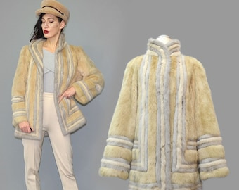 Vintage BLONDE & PLATINUM Mink Fur Couture Art Deco Geometric Graphic Tent A-Line Flared Jacket Kimono Bell Sleeve Cape Berlin Manufactured