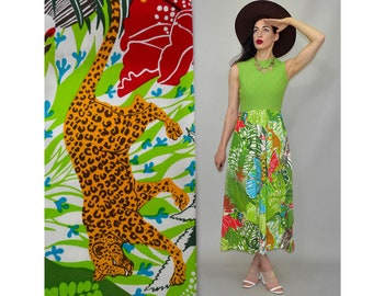 Vintage Uli Richter Couture Novelty Jungle Empire Waist Goddess Gown Cotton Canvas Tent Rayon Ethnic Festival Gypsy Maxi Dress 70s Boho M 38
