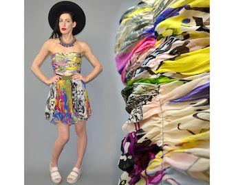 Vintage BAZAR Christian Lacroix Paris Couture Silk Chiffon Draped Rushed Bustier Rainbow Graffiti Animal Scarf Sheer Boned Corsage Top Shirt