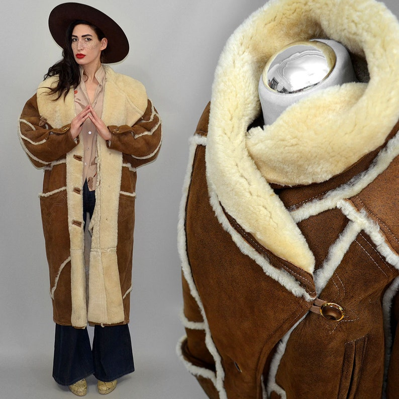 Vintage Shearling Sheep Fur Maxi Western Embroidered Coat image 0