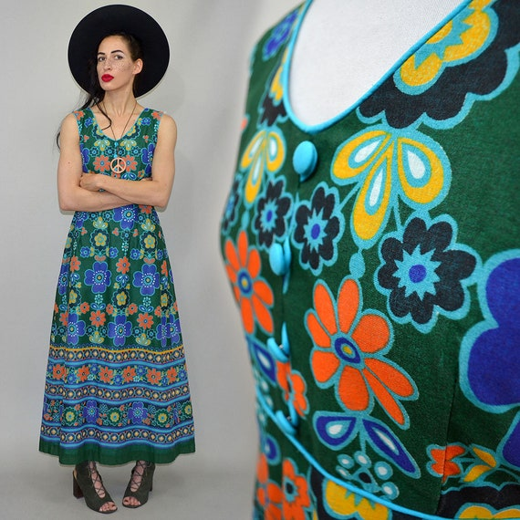 Vintage Flower Power Op Art Dainty Empire Waist P… - image 1