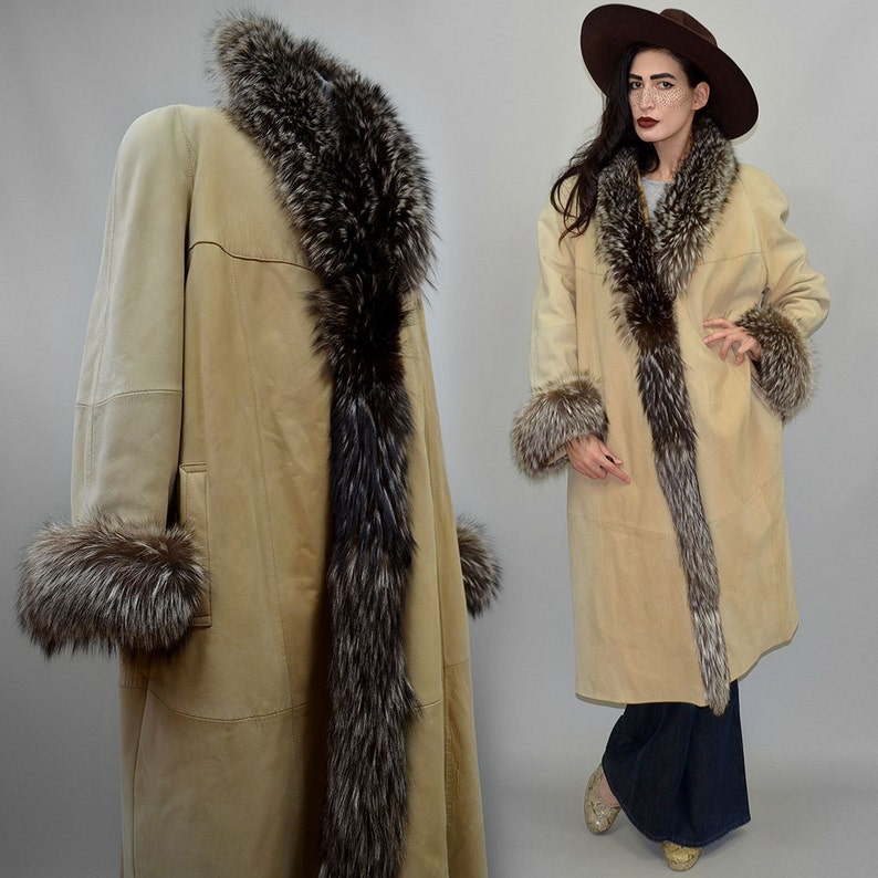 Vintage Spanish Designer Mallorca Shaggy Silver Fox Fur image 0