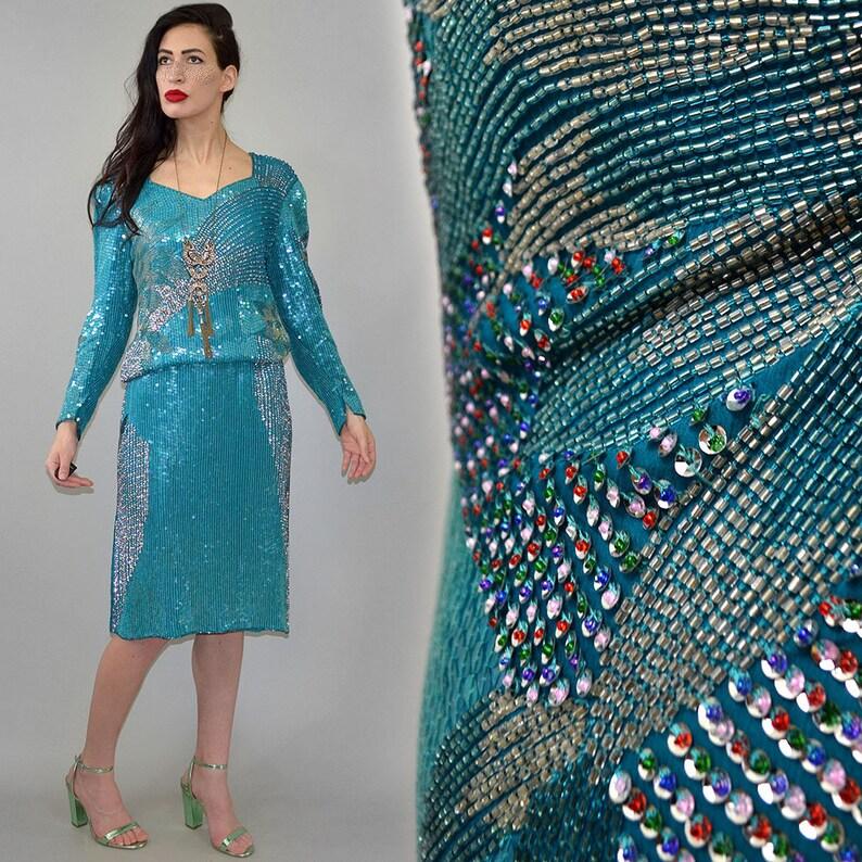 Vintage Silk Chiffon Georgette Indian Embroidered Mermaid image 0