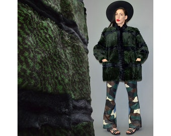 Vintage MARMOT Dyed Print Rabbit Fur Couture Cross Gothic Terraced Cocoon Puffer Cape London Punk Parka Winter Jacket Oversize Coat XL Gypsy