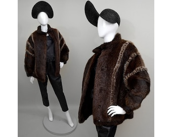 Vintage Real Shaggy Fur Couture Bomber Draped Cocoon Puffer Jacket Batwing Cape Poncho Ethnic Strip Inlaid Patchwork 1980s Oversize Wrap M