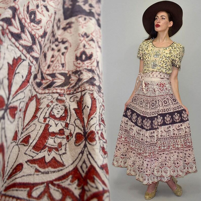 Vintage SASCHA Indian Cotton Hand-Printed Oriental Gypsy image 0