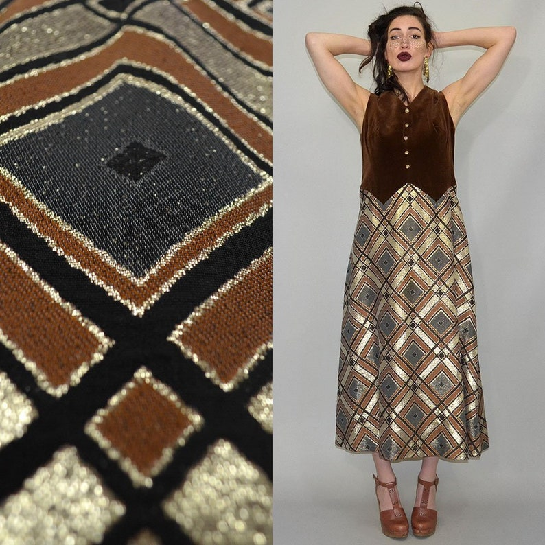 Vintage Iconic Lurex Rexor Graphic Disco Maxi Dress Velvet image 0