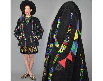 Vintage ZASPEL Harlequin Leather Patchwork Embroidered Ornament Tribal Colorfool Joker Ethnic Ikat Goat Suede Jacket Blazer Frock Coat XL