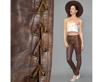 Vintage Thick Leather Pants Cowboy Drainpipe Cigarette Skinny Corset Lace Fringe Sexy Trousers Antique Shabby Patina 70s Hippie Boho XS / S