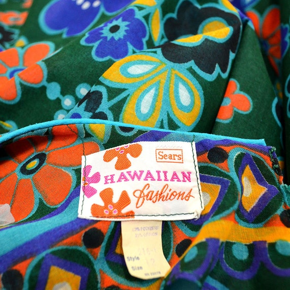 Vintage Flower Power Op Art Dainty Empire Waist P… - image 3