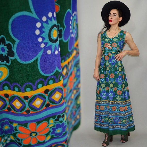 Vintage Flower Power Op Art Dainty Empire Waist P… - image 2