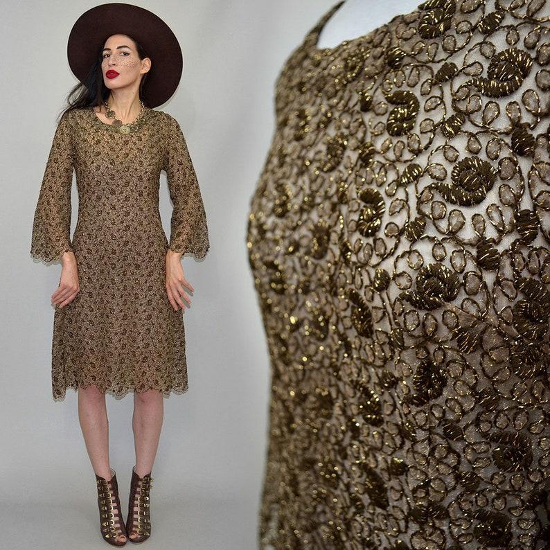 Vintage Lurex Brokat Spitze Etui Kleid Muschelsaum Twiggy Mod image 0
