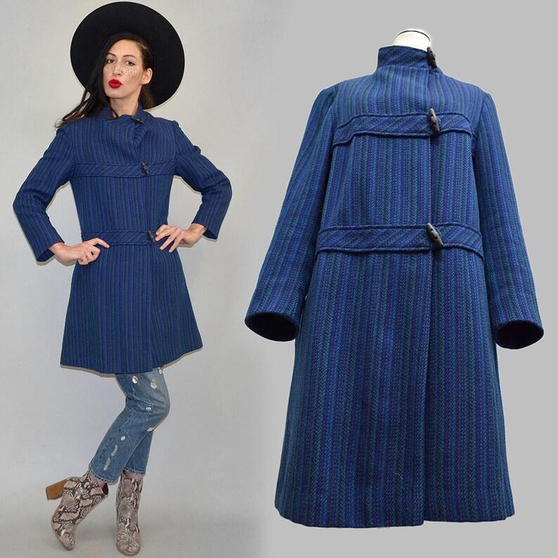 Vintage Fuzzy Wool Blanket Caban Duffle-Coat FENNO Sport image 0