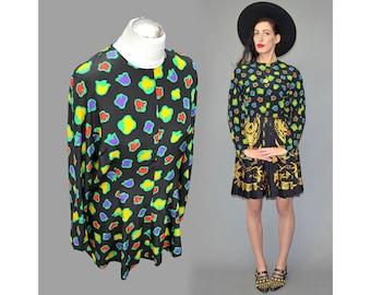 Vintage HARVAN Crêpe de Chine Silk Scarf Abstract Flower Power Floral Petal Pop Art Print Business Peplum Skater Tunic Shirt Blouse Dress L