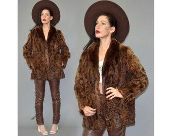 Vintage Shearling Curly Tuscany Lamb Fur Shaggy Ombre Structure Tent Flared Pompom Cropped Pea Coat Winter Jacket Cape Hippie 70s Boho S/M
