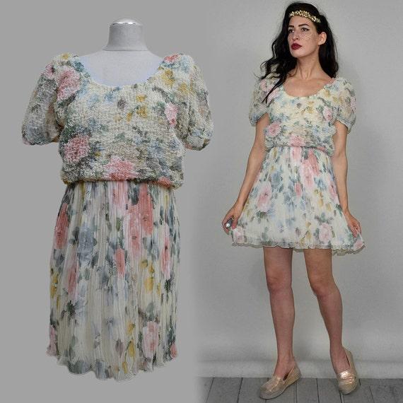 Vintage CLOQUÉ Pleated Romantic Chiffon Mini Dress