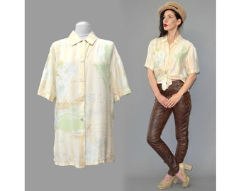 Vintage LAURÈL Dreamy Tiki Floral Letter Graphic Scarf Pastel Ombre Boyfriend Androgynous Silk Bowling Shirt Tunic Jacket Throw Pearl 90s S