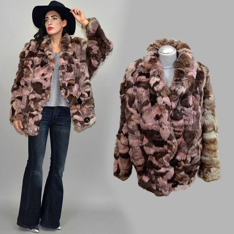 Vintage Patchwork Silky Real Rabbit Fur Batwing Draped Jacket image 0