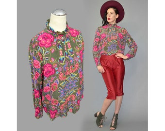Vintage OUI Set Blouse Floral Ornament Flower Boho Tapestry Silk Scarf Rushed Frill Victorian Poet Business Shirt Distressed Areas M 38