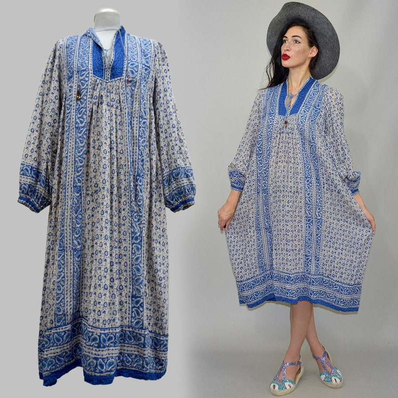 55b4e621c5be9 Vintage Indian Cotton Sari Caftan Bohemian Sheer Gauze Dress